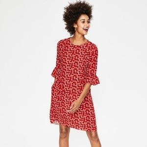Boden Hyacinth Dress Post Box Red Scattered Stars